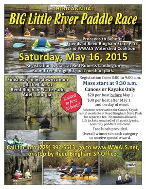 300x388 Poster, in BIG Little River Paddle Race (Third Annual), by WWALS, 16 May 2015
