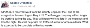 300x94 I received word from the County Engineer that..., in US 41N congested; Scruggs Co. no longer working during day, by Scottie Orenstein, 12 August 2015
