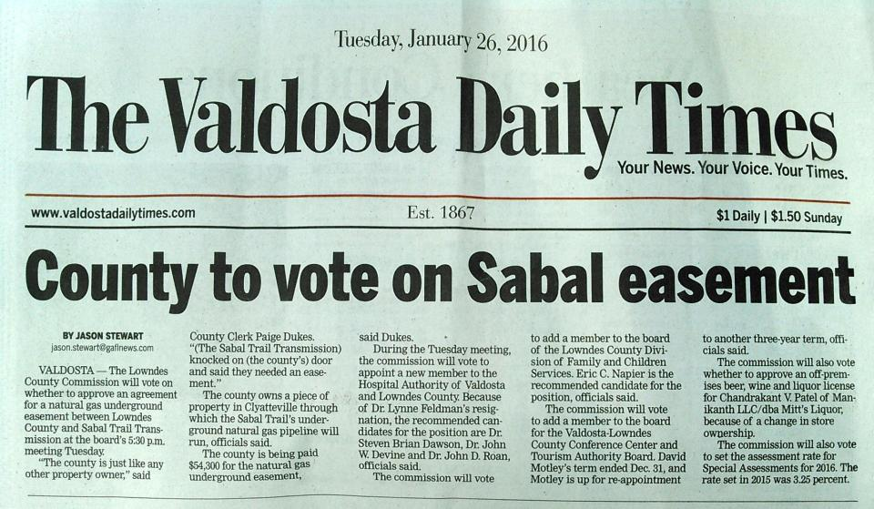 2031x1182 Page A1, in County to vote on Sabal easement, by Jason Stewart, 26 January 2016
