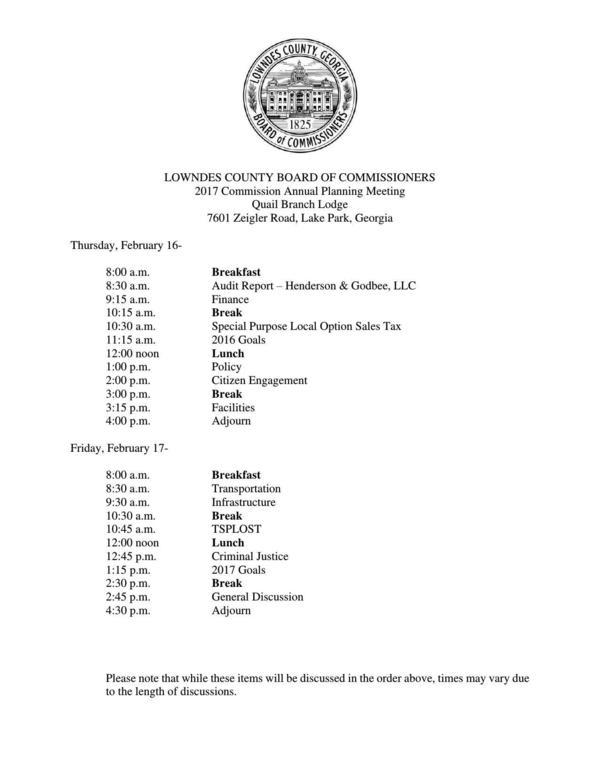 600x777 2017-02-16--lcc-planning-agenda-0001, in Agenda, 2017 Commission Annual Planning Meeting, by Lowndes County Board of Commissioners, 16 February 2017