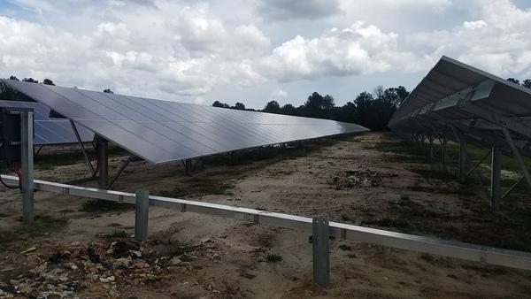 Solar panels and landfill trash