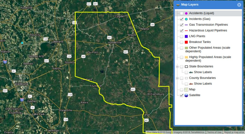 1018x559 PHMSA shows no pipeline to Homerville, Map, in Homerville, GA pipeline explosion, by John S. Quarterman, 17 August 2018