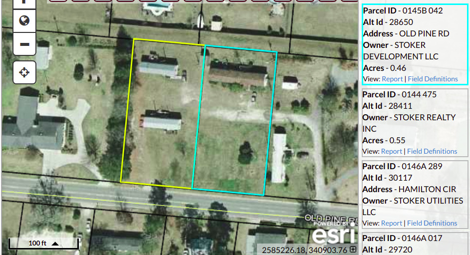 942x511 Parcels 0145B 042 and 0145B 043, Old Pine Road, in Stoker Development LLC, by John S. Quarterman, for www.l-a-k-e.org, 28 January 2019