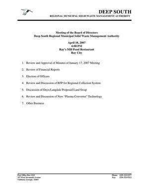 [April 18, 2007 Agenda]
