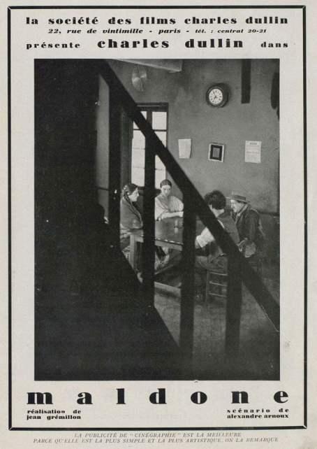 Publicité pour Maldone de Jean Grémillon (Cinégraphie, janvier 1928)