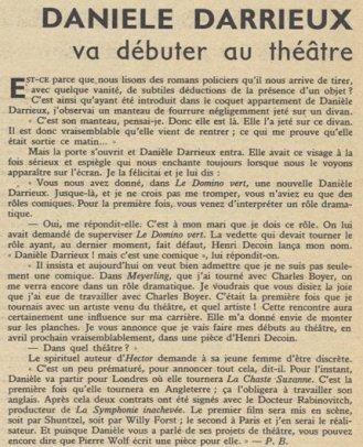 Article sur Danielle Darrieux (Pour Vous 30.01.1936)