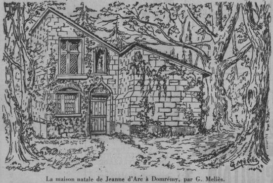 Croquis de la maison de Jeanne d'Arc par Méliès (Ce Soir du 25 janvier 1938)