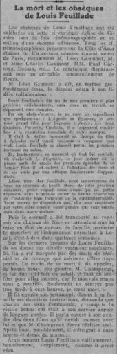 Nécrologie de Louis Feuillade (Comoedia 1925)