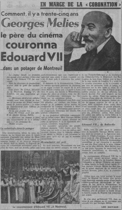 Méliès et Edouard VII (Paris-Soir du 14 mai 1937)