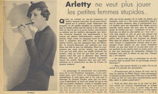 Arletty par Jean-Georges Auriol (Pour Vous 1935)