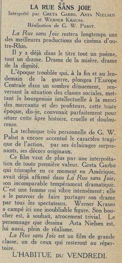 Cinémagazine du 30 septembre 1927
