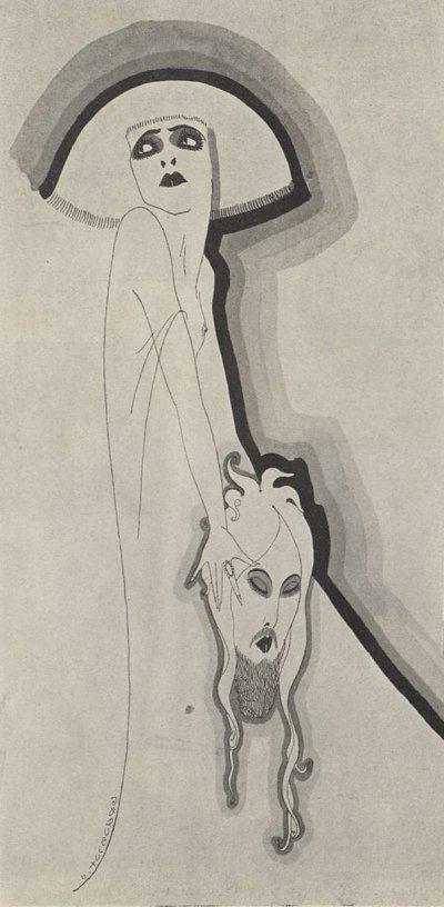 Dessin : Jacques Lux. Paru dans Cinéa du 18 mai 1923