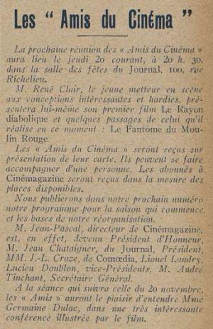 paru dans Cinémagazine du 14 novembre 1924