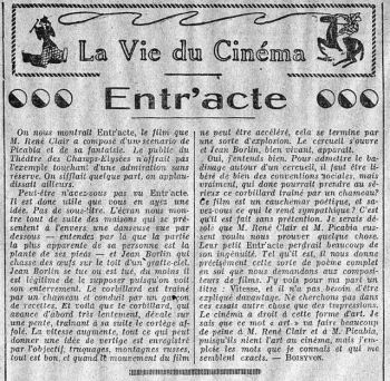 paru dans L'Intransigeant du 20 décembre 1924