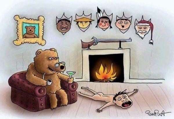 Illustration antispéciste de Puca inversant le rapport animal et humain.