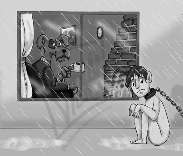 Illustration antispéciste de Adrian Viera inversant le rapport animal et humain afin de changer la manière dont nous traitons les animaux non-humains. Imaginez être attaché dehors par temps de pluie et privé de votre liberté de mouvement.
