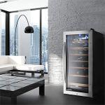 Klarstein Vivo Vino 26 • Cave à vin • Porte avec serrure • 88 litres • 26 bouteilles • Double isolation • Commande tactile • Eclairage LED • 6 étagères amovibles en bois • Argent
