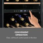 KLARSTEIN Vinamour – Cave à vin, Etagères en bois amovibles, Porte en verre, Panneau de commande tactile, Ecran LCD, Eclairage intérieur, Plage de température: 5 à 18°C – 45 bouteilles, Argent