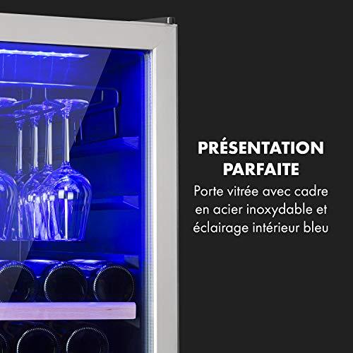 Klarstein Vinovilla 116D – Cave à vin, Deux zones, 116 bouteilles de vin, Panneau de commande tactile, Support de verre à vin, Filtre à charbon actif, 10 étagères en bois, Ecran LCD, 313L, Argent