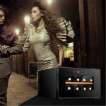 JIAODIE Réfrigérateur cave à vin avec porte en verre et écran LCD numérique – 8 bouteilles – Noir – Dimensions : 29 x 42 x 49 cm – A