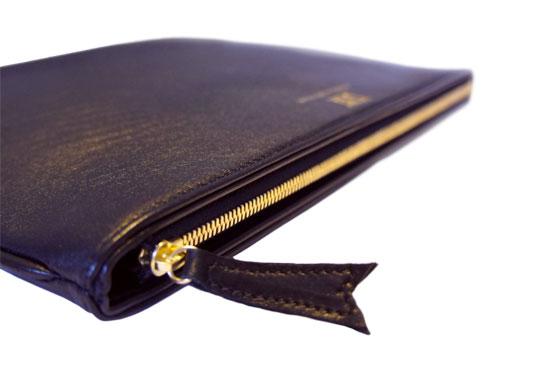 Pochette iPad cuir Cuir lisse agneau (noir)