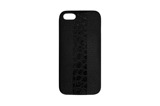 Coque iPhone 5/5s/SE Shrunkencalf avec bande Crocodile (Noir/ Noir)