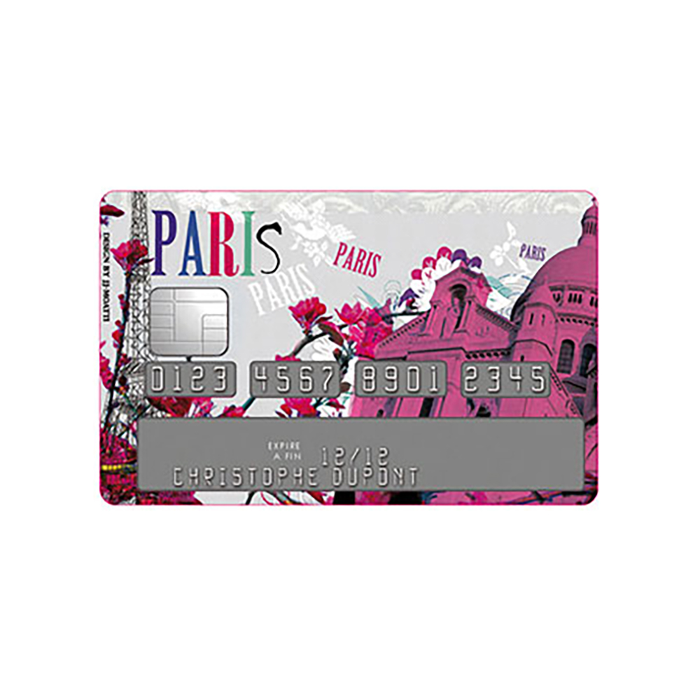Sticker Carte Bleue Paris La vie en Rose Montmartre