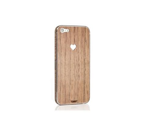 Sticker iPhone 5 en bois Love (Noyer)