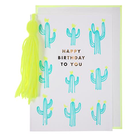 Carte postale Joyeux Anniversaire Cactus Meri Meri