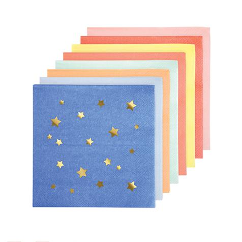 16 serviettes en papier Etoiles multicolores Meri Meri