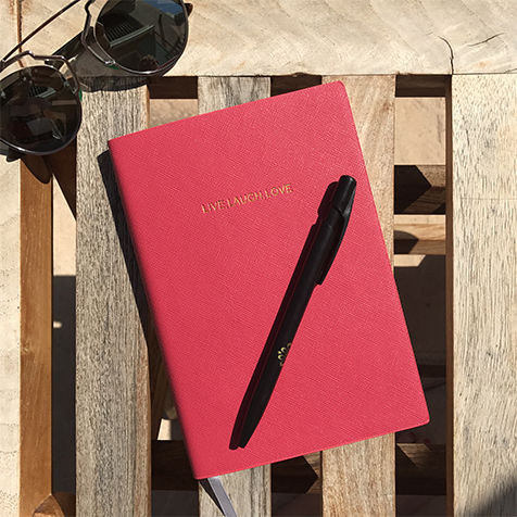 Notebook petit format Live Laugh Love Rose Fuschia Katie Loxton