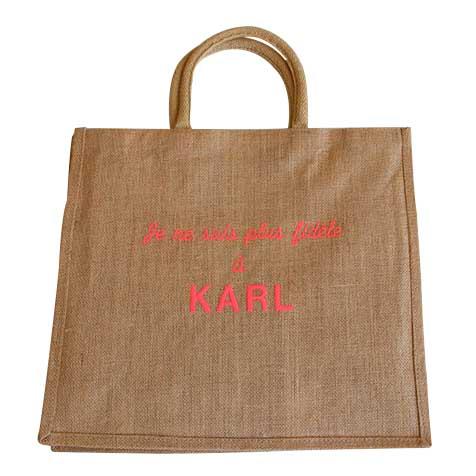 Sac jute Je ne suis plus fidèle à Karl broderie rose Improbables