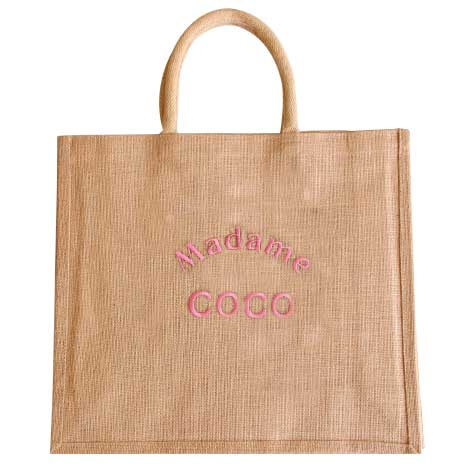 Sac jute Madame Coco broderie rose Improbables