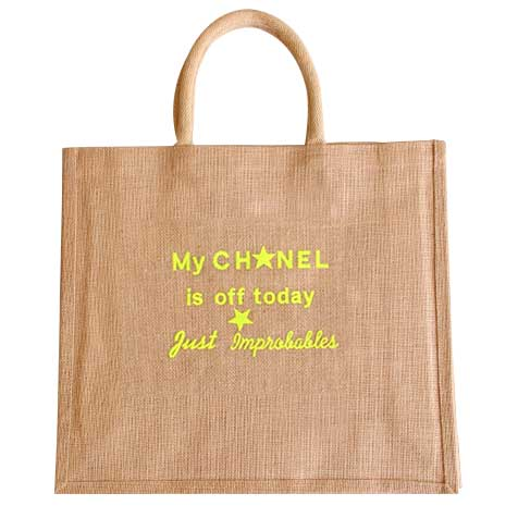 Sac jute My Chanel is off today broderie jaune Improbables