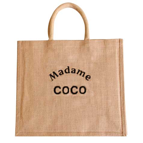 Sac jute Madame Coco broderie noire Improbables