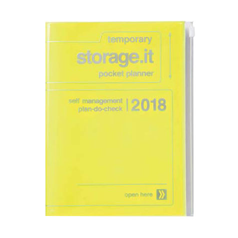 Agenda 2018 Storage.It A5 jaune fluo Mark's