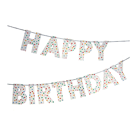 Guirlande Happy Birthday Toot Sweet à pois multicolores Meri Meri