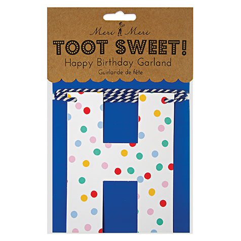 Guirlande Happy Birthday Toot Sweet à pois multicolores Meri Meri