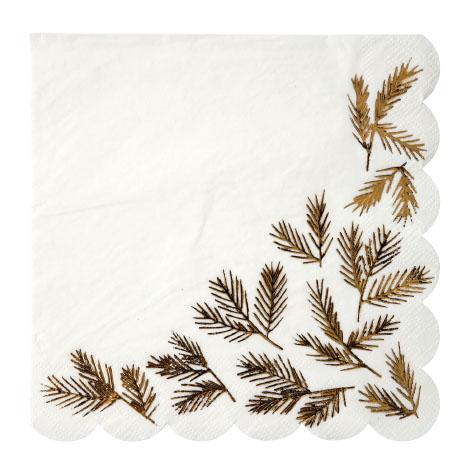 16 Serviettes en papier brindilles dorées Meri Meri