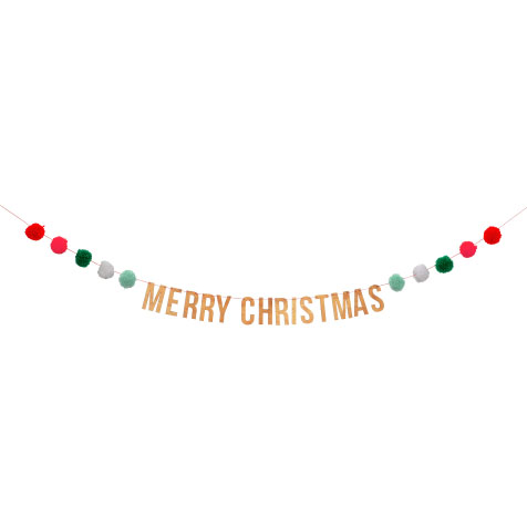Guirlande pompons de Noël «Joyeux Noël» Meri Meri