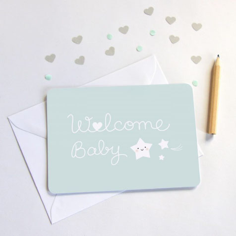 Carte welcome baby bleu Zü
