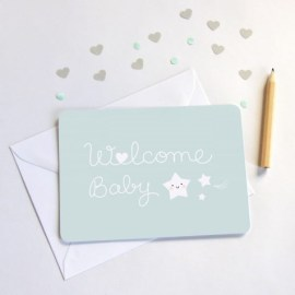 Carte welcome baby bleu Zü