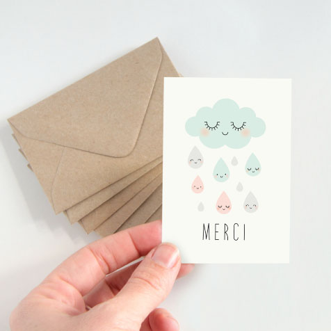 Lot de 5 cartes postales doubles Merci blanc Zü