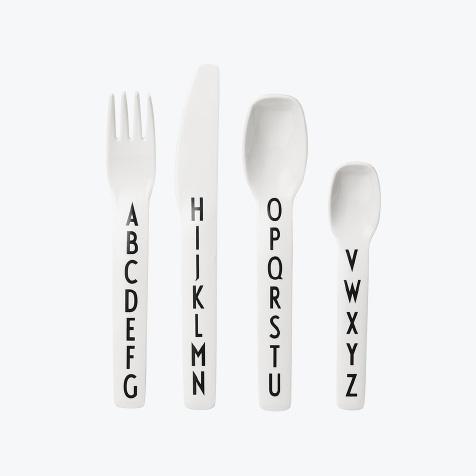 Couverts en mélamine AJ blanc Design Letters