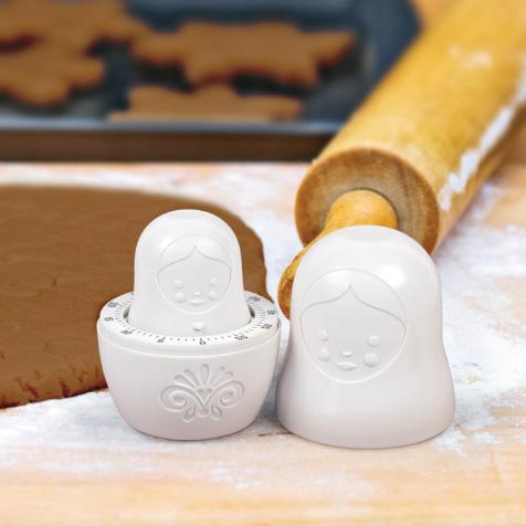 Minuteur cuisine poupée russe Matryoshka blanc Invotis