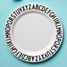 Assiette 20 cm en mélamine AJ blanc Design Letters