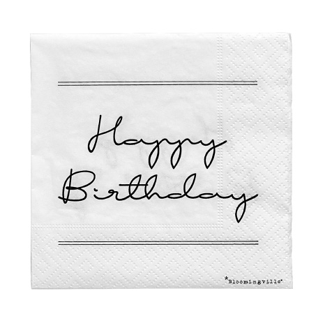 20 Serviettes en papier Happy Birthday blanche Bloomingville