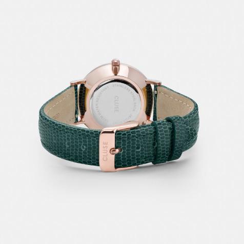 Montre Minuit Emerald Lizard gold champagne bracelet vert Cluse
