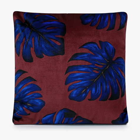 Coussin Leaves rouge et bleu Wouf