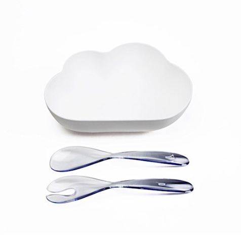 Saladier et couverts nuage blanc Qualy